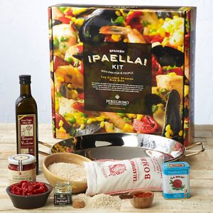 Spanish Paella Kit, everything you need to make an authentic meal for 6-8 people including the pan, saffron, rice and more. $148.95