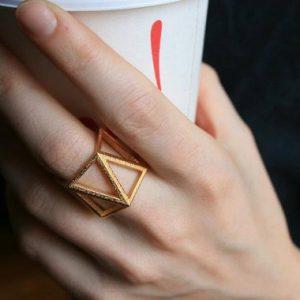 geometry trend3D printed ring made in brooklyn