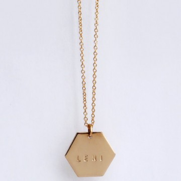 hexagon monogram necklace