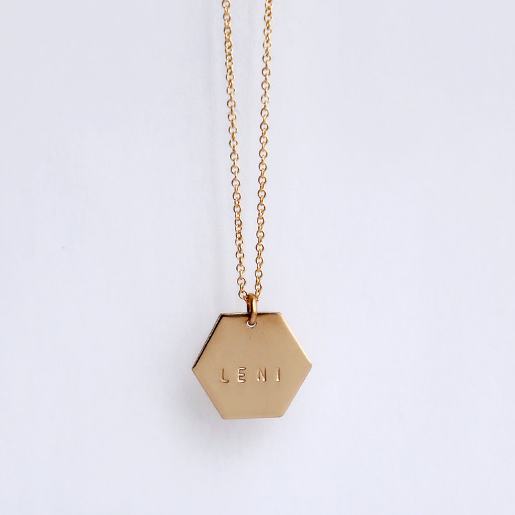 hexagon monogram gold necklace