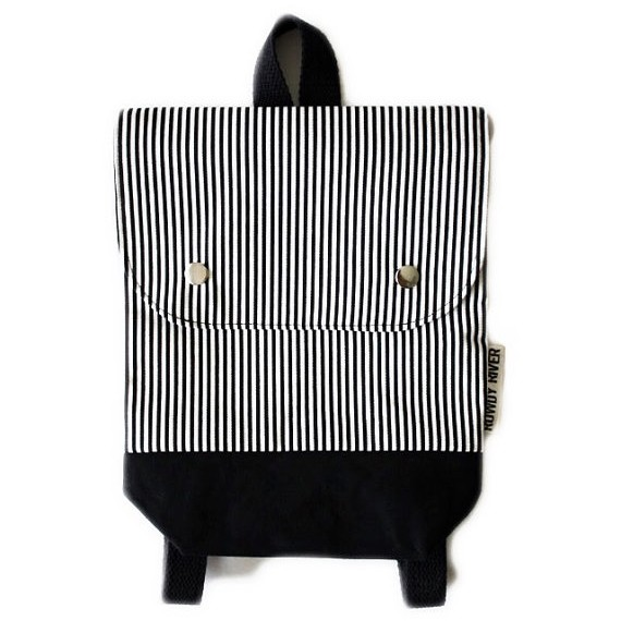 black and white striped backpack