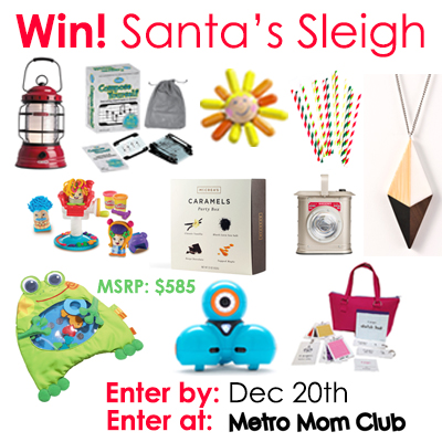 #MMCSleigh 36 ways to enter to win $585 worth of Christmas presents for your whole family from Metro Mom Club. Enter by 12/20