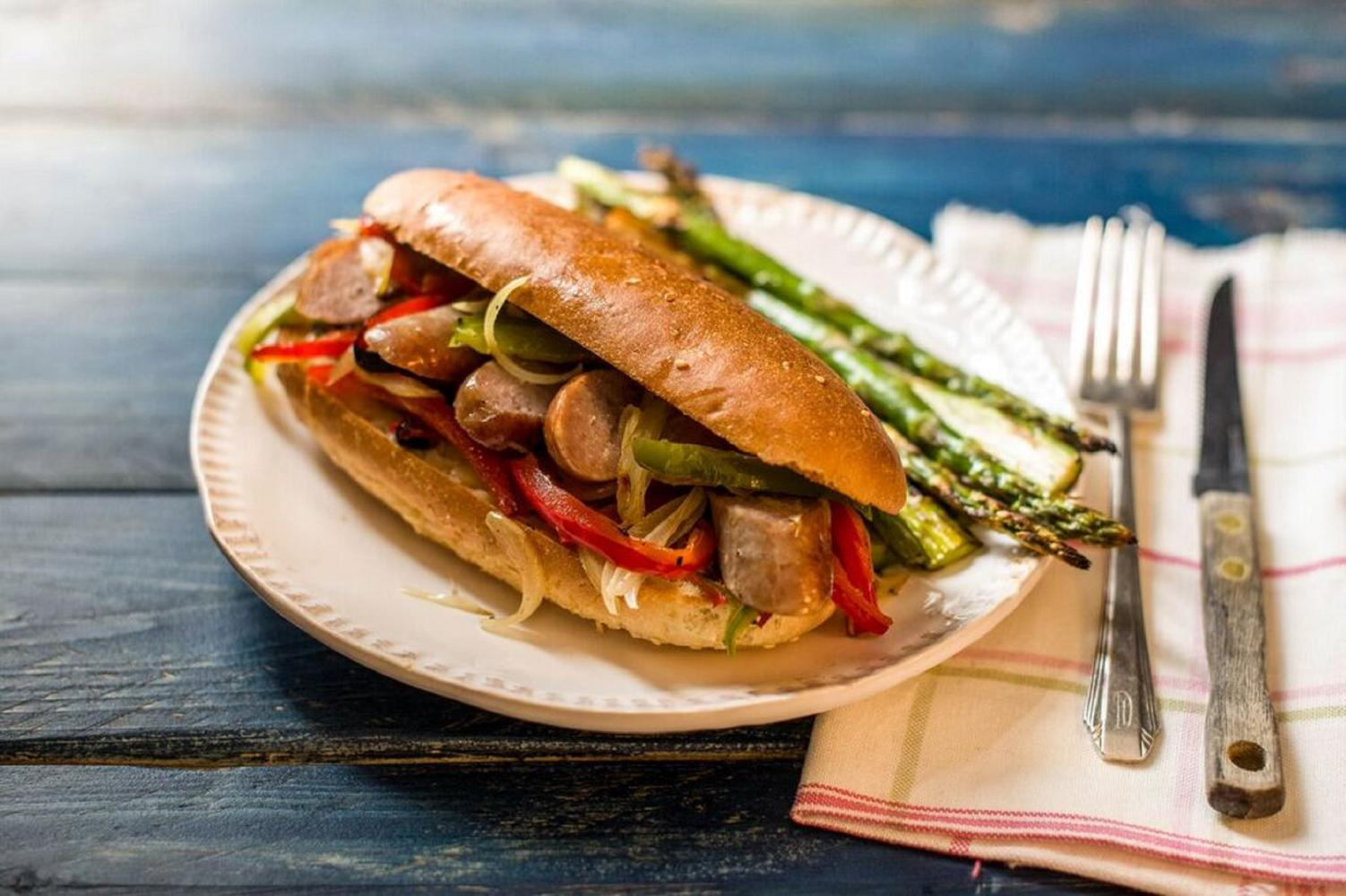 Hello Fresh One-Sheet Sausage and Pepper Hoagies with Broiled Asparagus