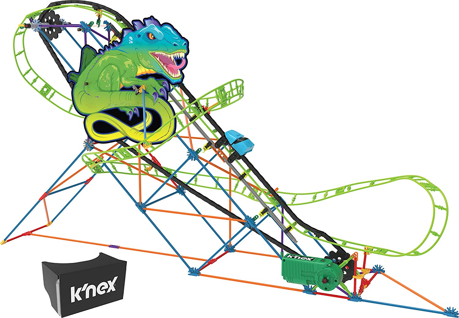 knex virtual reality roller coaster lizard set